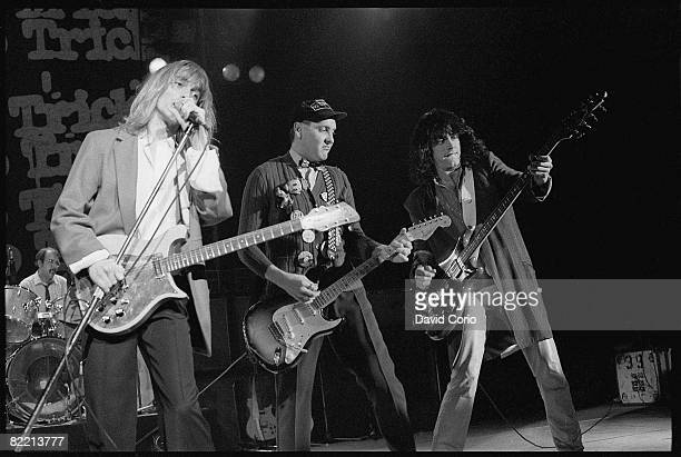 American rock band Cheap Trick performing at the Hammersmith Odeon London 1979 Left to right drummer Bun E Carlos singer Robin Zander guitarist Rick...