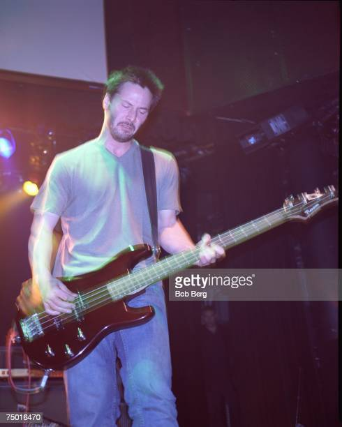 American rock band Dogstar bassist Keanu Reeves in a September 1999 performance at the Key Club in Los Angeles. California.