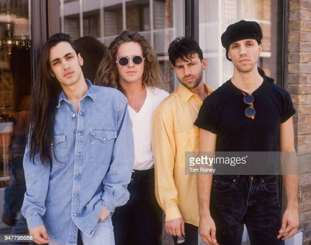 American rock band Extreme circa 1990 Nuno Bettencourt Pat Badger Paul Geary Gary Cherone