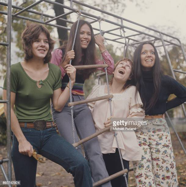 American rock band Fanny circa 1972 Left to right drummer Alice de Buhr guitarist June Millington keyboard player Nickey Barclay and bassist Jean...