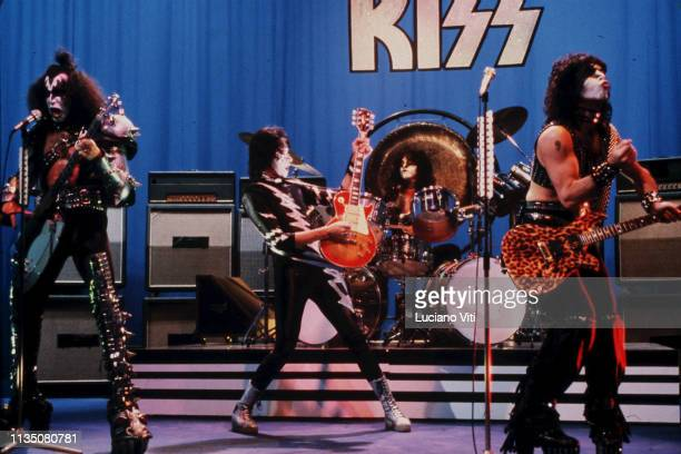 American rock band Kiss appear on an Italian TV show for the Creatures of the Night Promo Tour Rome Italy December 1982