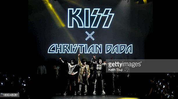 American rock band KISS on the runway during the Christian Dada show as part of Mercedes Benz Fashion Week Tokyo 2014 S/S at Hikarie Hall A of...