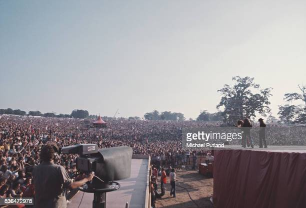 American rock band Lynyrd Skynyrd perform on stage at Knebworth 21st August 1976