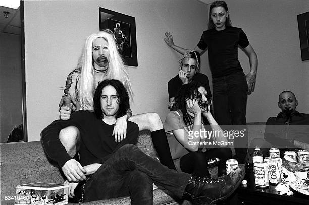 American rock band Marilyn Manson and American musician Trent Reznor of Nine Inch Nails backstage at the taping of the last episode of the Jon...