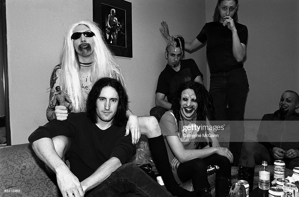 Marilyn Manson And Trent Reznor Backstage At The Jon Stewart Show : News Photo
