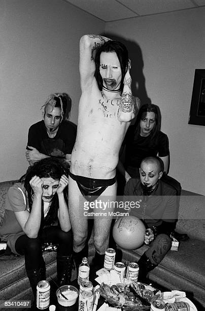 American rock band Marilyn Manson backstage at the taping of the last episode of the 'Jon Stewart Show' in June 1995 in New York City New York The...