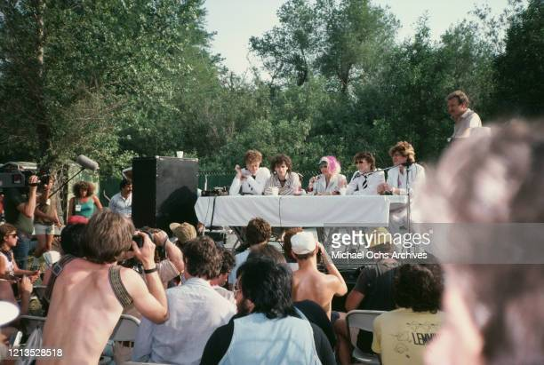 American rock band Missing Persons at the US Festival in South California 1983 In the centre is singer Dale Bozzio