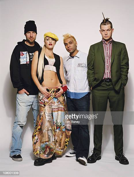 American rock band No Doubt, circa 2001. They are Gwen Stefani, Tony Kanal, Adrian Young and Tom Dumont.