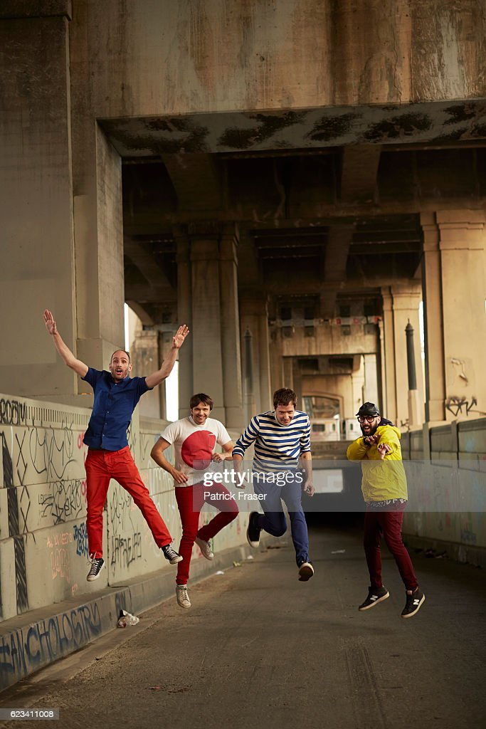 American rock band OK Go band members Damian Kulash, Tim Nordwind, Dan Konopka, and Andy Ross are photographed for The Guardian Magazine on February 3, 2016 in Los Angeles, California.
