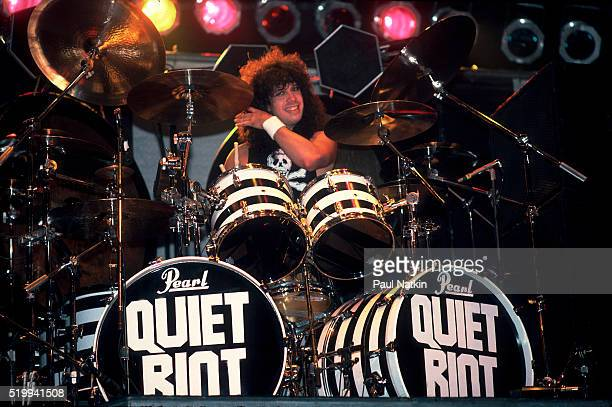 American Rock band Quiet Riot performs onstage at Reunion Arena Dallas Texas October 21 1984 Pictured is drummer Frankie Banali
