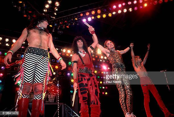 American Rock band Quiet Riot performs onstage at the UIC Pavillion Chicago Illinois November 10 1984 Pictured are from left Rudy Sarzo Frankie...