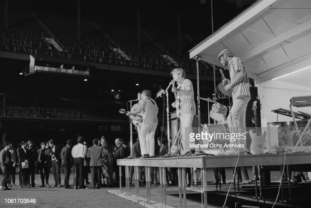 American rock band the Beach Boys appear at Soundblast '66 at the Yankee Stadium in New York City 10th June 1966