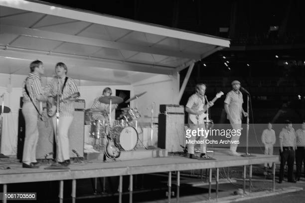 American rock band the Beach Boys appear at Soundblast '66 at the Yankee Stadium in New York City, 10th June 1966.