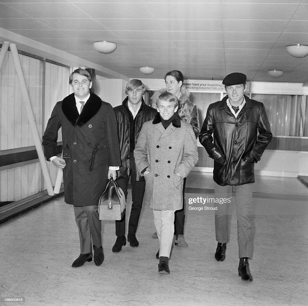 American rock band The Beach Boys at London Airport, UK, 1st November 1964. From left to right, Carl Wilson, Dennis Wilson, Al Jardine, Brian Wilson and Mike Love.