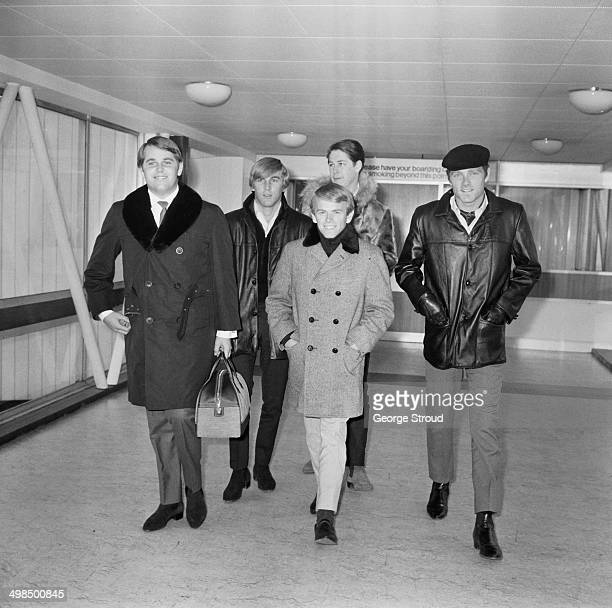 American rock band The Beach Boys at London Airport, UK, 1st November 1964. From left to right, Carl Wilson, Dennis Wilson, Al Jardine, Brian Wilson...
