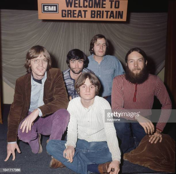 American rock band The Box Tops sitting beneath an EMI sign which reads 'Welcome to Great Britain' UK 4th December 1969 Singer Alex Chilton is in...
