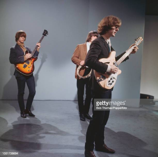 American rock band The Byrds in concert August 1965 From left to right Chris Hillman Gene Clark and Jim McGuinn
