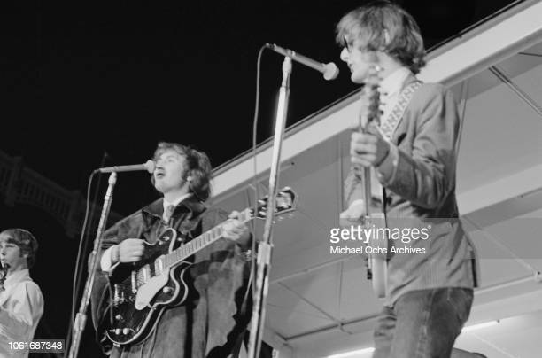 American rock band The Byrds perform at Soundblast '66 at the Yankee Stadium in New York City 10th June 1966 They are guitarist David Crosby and...