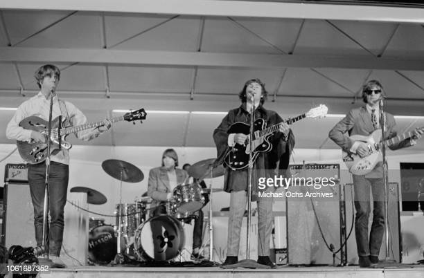 American rock band The Byrds perform at Soundblast '66 at the Yankee Stadium in New York City 10th June 1966 From left to right they are bass player...