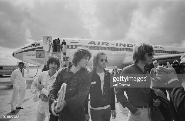 American rock band The Doors arrive at Heathrow Airport for their European Tour starting off at the Roundhouse in London UK 5th September 1968 From...
