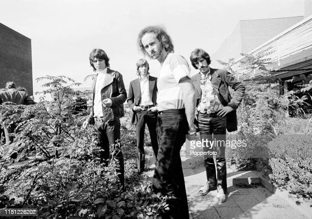 American rock band The Doors, left to right: Jim Morrison, Ray Manzarek, Robby Krieger and John Densmore, in Germany, circa 1968.