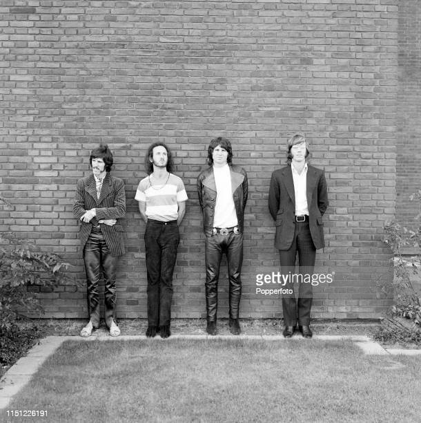 American rock band The Doors left to right John Densmore Robby Krieger Jim Morrison and Ray Manzarek in Germany circa 1968