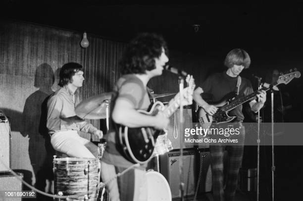American rock band The Grateful Dead in concert circa 1970 From left to right drummer Bill Kreutzmann lead singer Jerry Garcia and bassist Phil Lesh