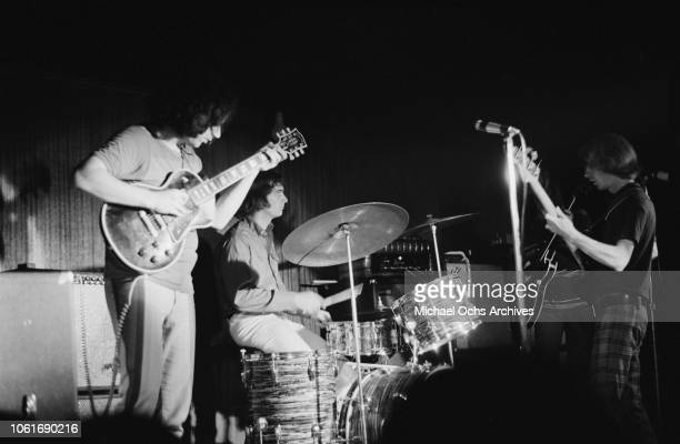 American rock band The Grateful Dead in concert circa 1970 From left to right lead singer Jerry Garcia drummer Bill Kreutzmann and bassist Phil Lesh