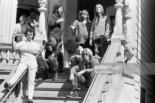 American Rock band the Grateful Dead outside their home at 710 Ashbury Street San Francisco CA October 1967