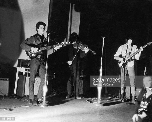 American rock band the Velvet Underground perform at the Filmmakers Cinematheque New York New York February 8 1966 From left American guitarist Lou...