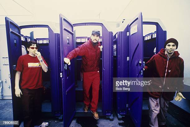 American rock funk metal band Primus guitarist Larry LaLonde, bassist/vocalist Les Claypool and drummer Bryan Mantia pose for a January 1998 portrait...