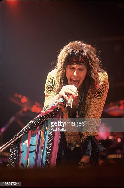 American rock group Aerosmith performs onstage Chicago Illinois November 24 1982 Pictured is Steven Tyler
