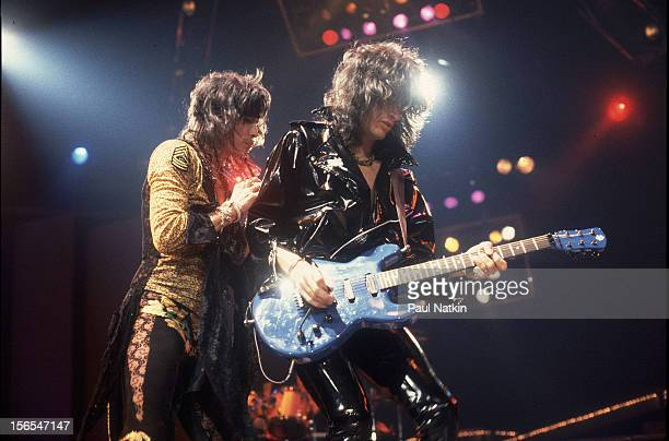 American rock group Aerosmith performs onstage Chicago Illinois November 24 1982 Pictured are Steven Tyler and Joe Perry