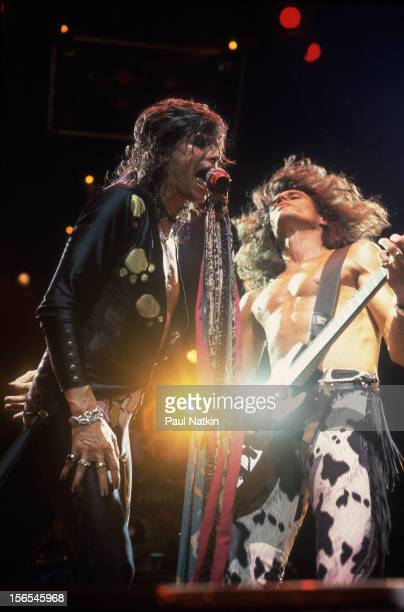 American rock group Aerosmith performs onstage Chicago Illinois July 1 1993 Pictured are Steven Tyler and Joe Perry