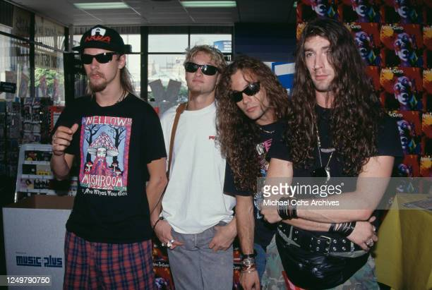 American rock group Alice in Chains American guitarist Jerry Cantrell American singer and musician Layne Staley American bassist Mike Starr and...