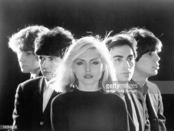 American rock group Blondie pose for portrait to promote their debut album 'Blondie' in 1976
