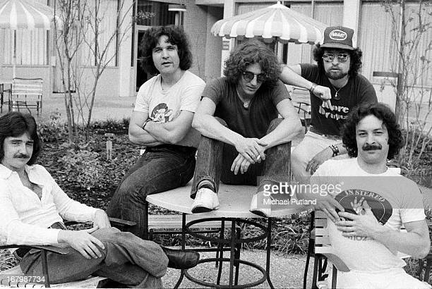 American rock group Blue Oyster Cult USA 30th July 1976 Left to right guitarist Donald 'Buck Dharma' Roeser bassist Joe Bouchard keyboard and guitar...