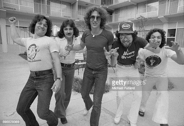 American rock group Blue Oyster Cult USA 30th July 1976 Left to right bassist Joe Bouchard guitarist Donald 'Buck Dharma' Roeser keyboard and guitar...