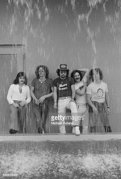 American rock group Blue Oyster Cult USA 30th July 1976 Left to right guitarist Donald 'Buck Dharma' Roeser keyboard and guitar player Allen Lanier...