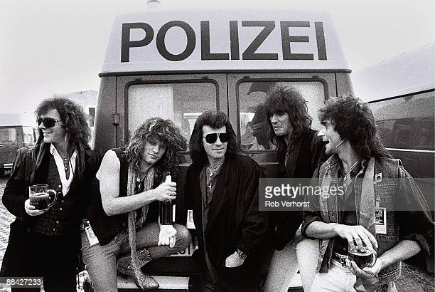 American rock group Bon Jovi backstage at the Monsters Of Rock festival in Mannheim West Germany 31st August 1986 LR David Bryan Jon Bon Jovi Tico...