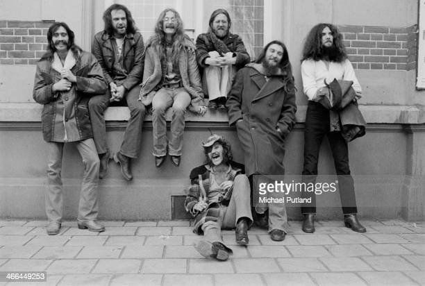American rock group Dr Hook the Medicine Show Netherlands March 1974 Left to right Billy Francis John Wolters Rik Elswitt Ray Sawyer Jance Garfat...