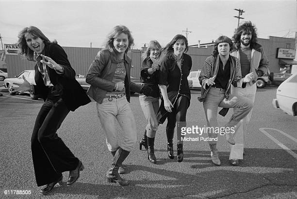 American rock group Heart Seattle USA 13th February 1978 Left to right guitarist Roger Fisher guitarist Howard Leese singer and guitarist Nancy...
