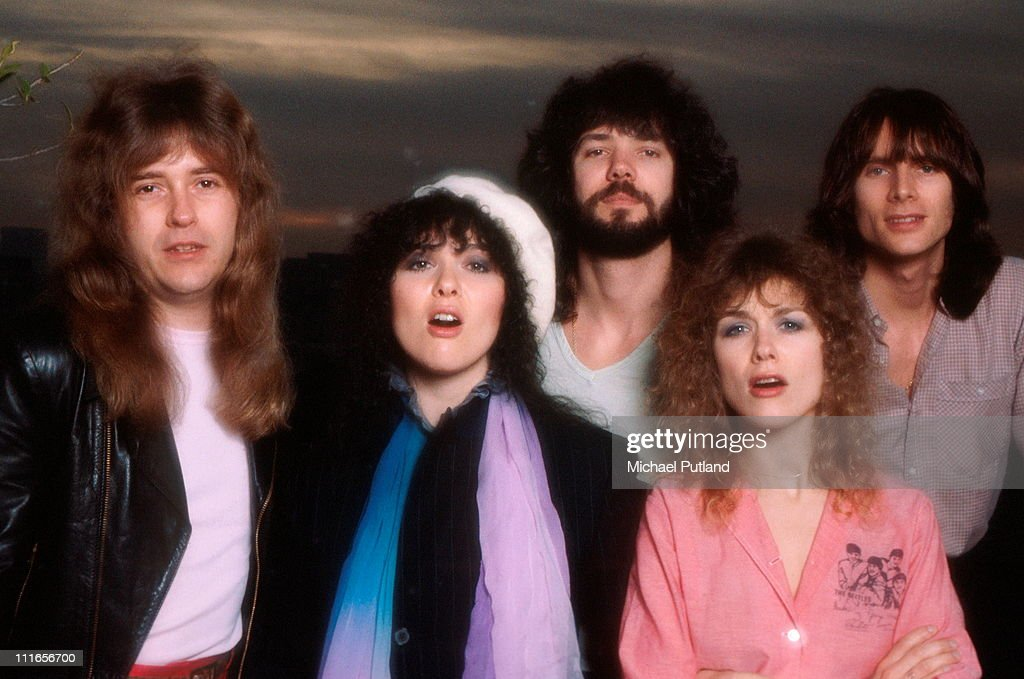 American rock group Heart, USA, February 1980. Left to right: guitarist Howard Leese, singer and guitarist Ann Wilson, drummer Michael DeRosier, singer and guitarist Nancy Wilson and bassist Steve Fossen.