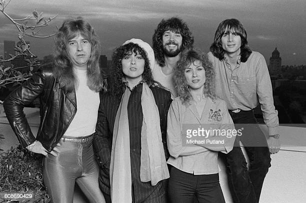 American rock group Heart USA February 1980 Left to right guitarist Howard Leese singer and guitarist Ann Wilson drummer Michael DeRosier singer and...