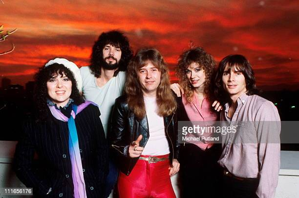 American rock group Heart USA February 1980 Left to right singer and guitarist Ann Wilson drummer Michael DeRosier guitarist Howard Leese singer and...
