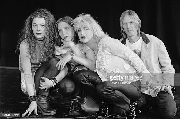 American rock group Hole circa 1995 Left to right bassist Melissa Auf der Maur drummer Patty Schemel singer Courtney Love and guitarist Eric Erlandson