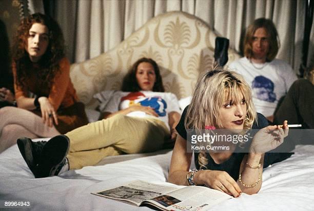 American rock group Hole circa 1995 Left to right bassist Melissa Auf der Maur rummer Patty Schemel singer Courtney Love and guitarist Eric Erlandson