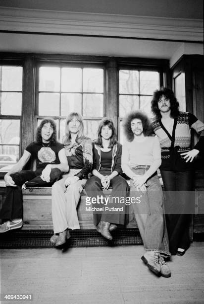 American rock group Journey, New York, 1978. Left to right: drummer Aynsley Dunbar, bassist Ross Valory, singer Steve Perry, guitarist Neal Schon and...
