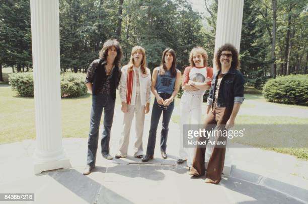 American rock group Journey, New York, June 1979. Left to right: keyboard player Gregg Rolie, bassist Ross Valory, singer Steve Perry, drummer Steve...