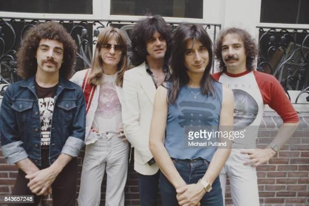 American rock group Journey, New York, June 1979. Left to right: guitarist Neal Schon, bassist Ross Valory, keyboard player Gregg Rolie, singer Steve...